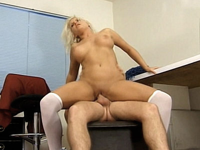 Blonde Cheerleader Rides Cock